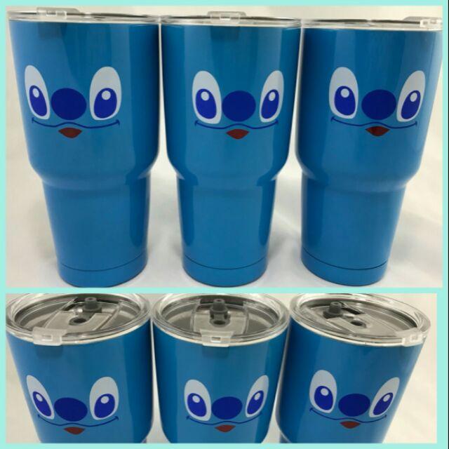 แก้วเก็บความเย็น  ลาย สติช สีฟ้า