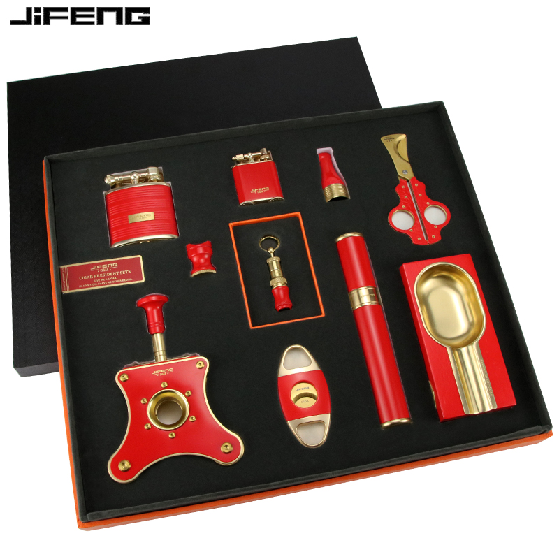 # ราคาต่ำสุด Monsoon Cigar Cutter Lighter Set Cigar Ashtray Cigar Cutter Portable Pipe Cigarette Holder Big Red Gift Box