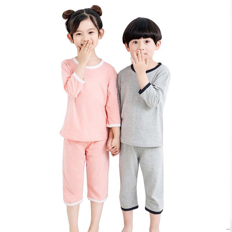 ยางยืดออกกําลังกาย✇♙(เสื้อผ้าเด็ก)  ชุดนอนเด็กชุดบริการบ้านเด็กชายและเด็กหญิงในฤดูร้อน ผ้าฝ้ายแท้บางส่วนเครื่องปรับอากา