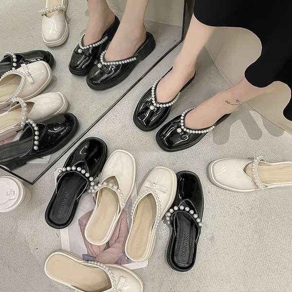 รองเท้าคัชชูเปิดส้นผู้หญิง รองเท้าคัชชูเปิดส้น รองเท้าเด็ก 2021 ใหม่รองเท้าแตะด้านล่างหนาหญิงฤดูร้อนสวมใส่ฝรั่งเศสสายเย็