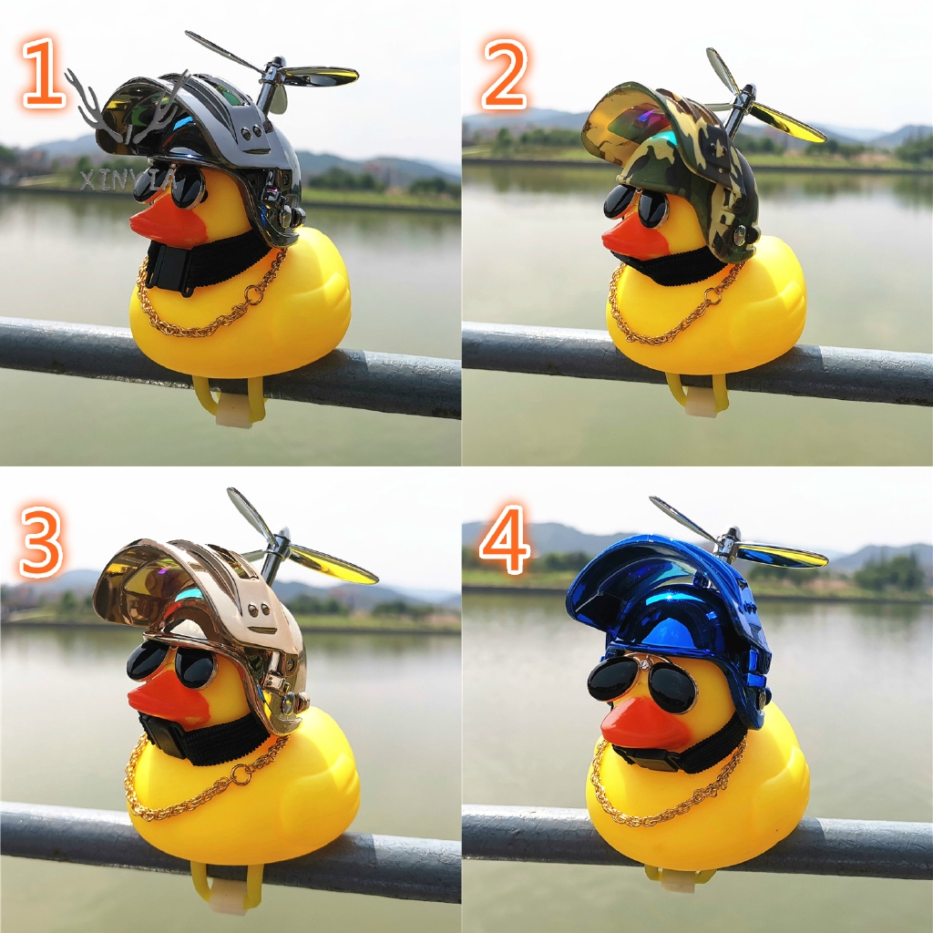 ของเล่นเด็กของเล่นเป็ดสีเหลืองพร้อมแว่นตากันน็อค+หมวกกันน็อค
