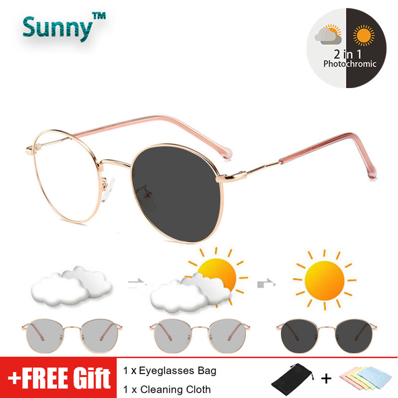 Graded glasses Fashion Photochromic Anti Radiation Blue Ray Transition Eyeglasses Women Men Replaceable Transitional Anti Blue Light Glare Computer Glasses Round Metal Glasses Frame Anti Sunlight UV400 Auto Color Changing Sunglasses