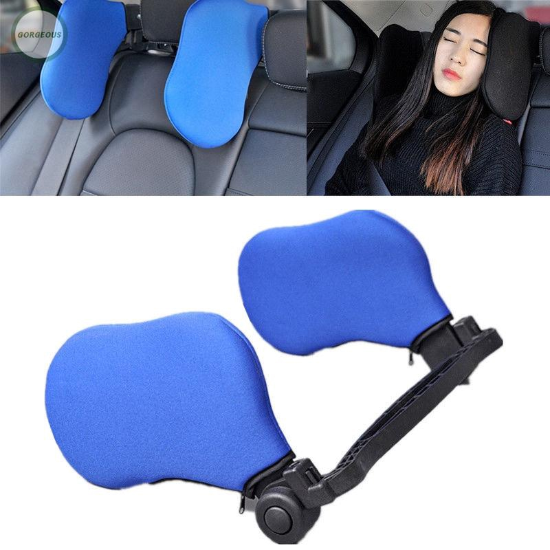Adjustable Car Headrest Side Support Head Neck Pillow Rest Cushion Pad Auto Car Seat Head for Sleeping Car Sleeping Headrest Pillow Black