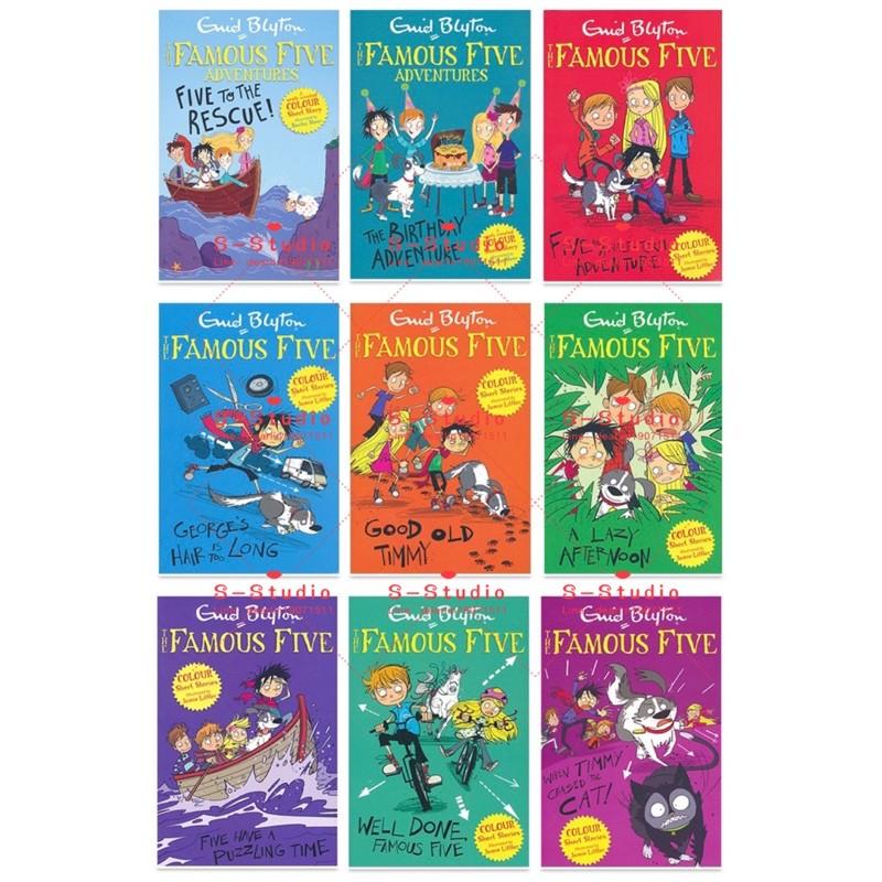 The Famous Five Adventure 9books Colour Short Stories หนังสือภาษาอังกฤษสําหรับเด็ก 9ชุด หนังสือภาษาอังกฤษสำหรับเด็ก