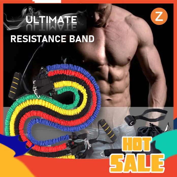 Zanlaza ยางยืดออกกำลังกาย หุ้มไนลอน แรงต้าน5ระดับ (Ultimate Set) Resistance Band Nylon Latex Tube ยางยืดหูจับ สายแรงต้าน