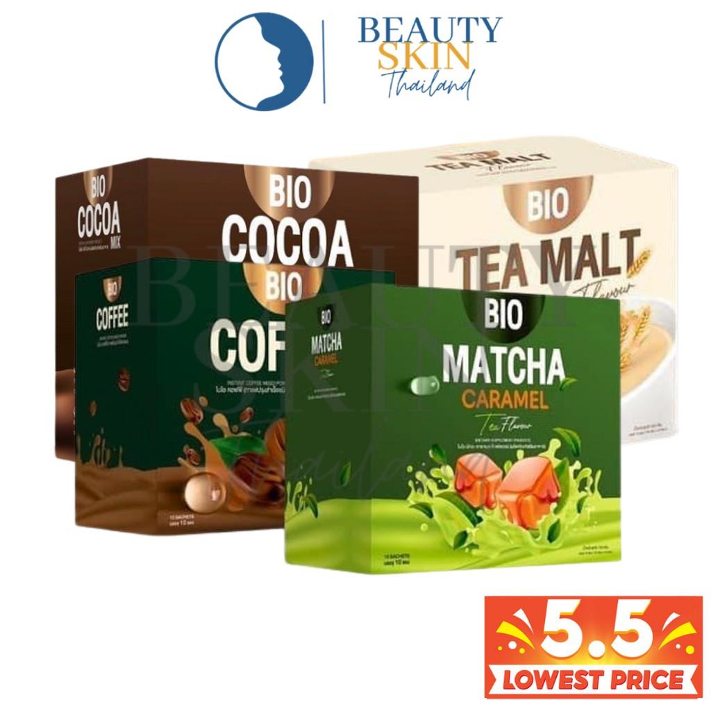 ของแท้ พร้อมส่ง l ⚡️(4แถม2) Bio คละทุกรสชาติ Bio Cocoa Coffee Matcha Teamalt by khunchan  (4 กล่อง)