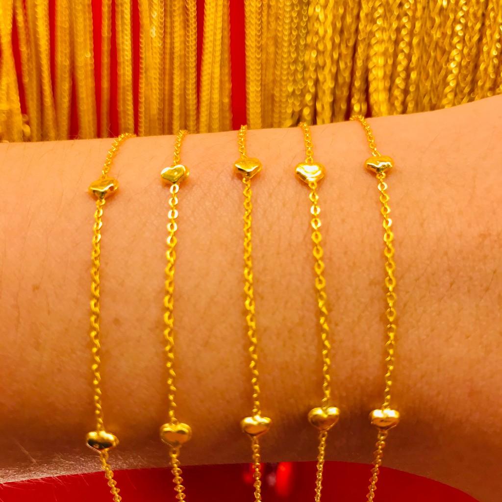 ข้อมือทองคำแท้ นำ้หนัก 1 กรัม  ลายขั้น ทองคำแท้ 96.5% มีใบรับประกันสินค้า น้ำหนักเต็ม ราคาโดนใจ