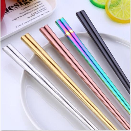 1Pair Stainless Steel Reusable Chinese Tableware Colorful Home Chopsticks W