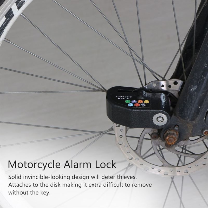 Anti-theft Wheel Disc Brake Lock with Security Alarm for Motorcycle BicycleSolid