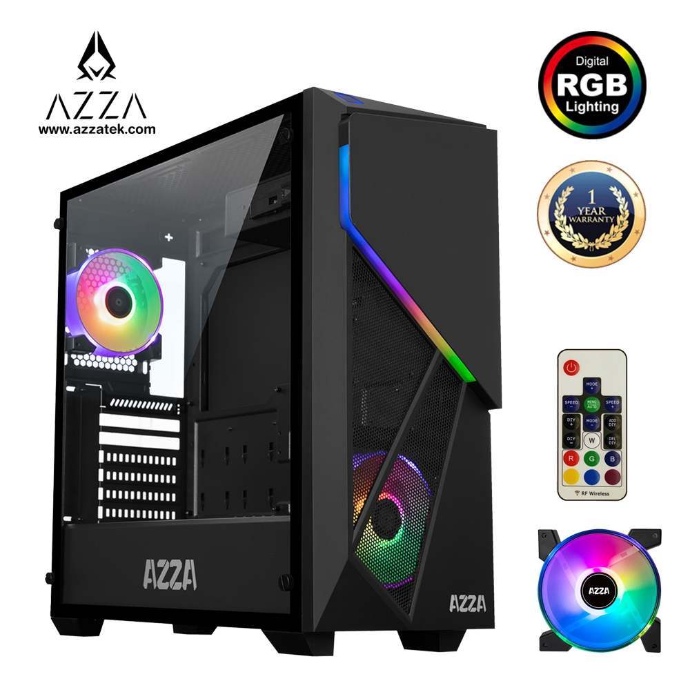 AZZA  Mid Tower Tempered Glass ARGB Gaming Case Inferno 310DH  with RF Remote