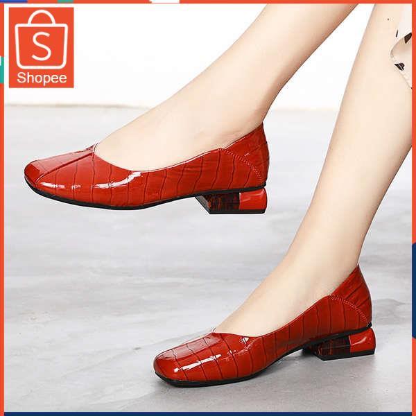 รองเท้าคัชชู ใส่สบาย สำหรับผู้หญิง รุ่นสีเรียบใส่ทำงาน รองเท้าเด็ก 2021 ใหม่ฤดูใบไม้ผลิและฤดูร้อนรองเท้าเดียวผู้หญิงรองเ