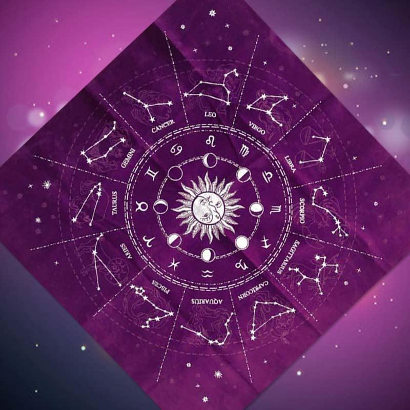ciriQQ 12 Constellations Tarot Card Tablecloth Board Game Velvet Divination Altar Cloth,Halloween Decoration