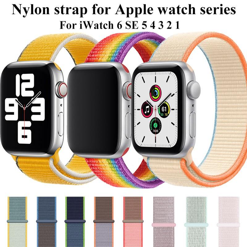 สายนาฬิกา สาย applewatch for Apple Watch 6 se 5 Band Woven Nylon Loop for iwatch Series 5 4 3 2 1 40 มม. 44 มม 42 มม. 38 มม.