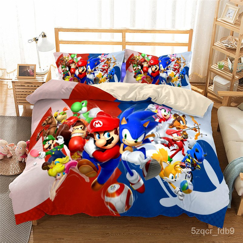 3d Sonic The Hedgehog Cartoon Character Print Decoration Kids Boys And Girls Bedroom Bedding Set With Quilt Cover Pillow ราคาท ด ท ส ด