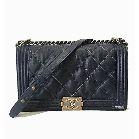 มือสองเรือธง Chanel หนังวัวสีน้ำเงินรูปสี่เหลี่ยมขนมเปียกปูนวินเทจโซ่เงินกระเป๋าสะพายข้าง Boy 28 ซม. กระเป๋าสะพายข้างกระ