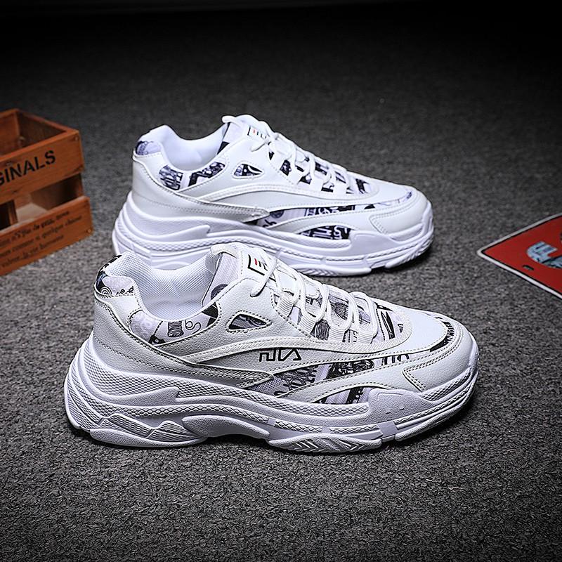 Fila รองเท้าผ้าใบรองเท้าวิ่งรองเท้ากีฬาแฟชั่นผู้ชาย