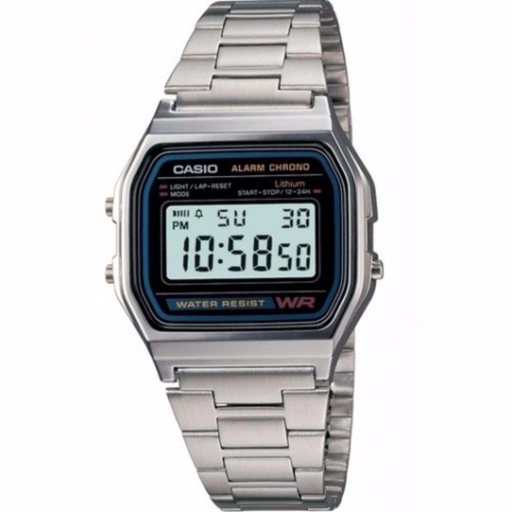 จัดส่งฟรีCASIO นาฬิกาข้อมือผู้ชาย สีเงิน สายสแตนเลส รุ่น A158WA-1DF