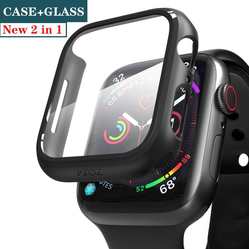 กระจก+ฝาครอบหน้าจอสําหรับ Apple Watch 44 มม. 40 มม. Iwatch 42 มม. 38 มม. + อุปกรณ์เสริมกันชนสําหรับ Applewatch Series 5 4 3 Se 6
