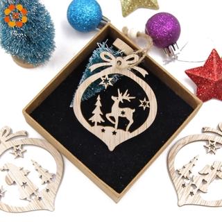 Details about  /12PCS//Box Vintage Hollow Christmas Wooden Pendants Ornaments Christmas Party Tre