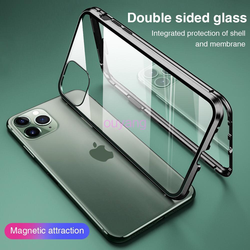 iPhone 360 °กระจกนิรภัยสองด้านโลหะเคสโทรศัพท์แบบแม่เหล็กสำหรับ iPhone 11 11Pro 11ProMax SE 2020 ด้านหน้าและด้านหลังกระจกเทมเปอร์สองด้านฝาครอบโทรศัพท์มือถือเคสเปลือก