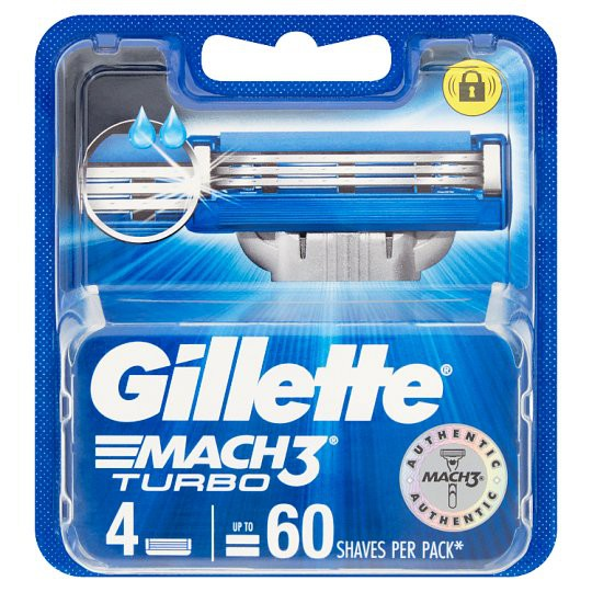 Gillette Mach3 Turbo ยิลเลตต์ มัค ทรี เทอร์โบ ใบมีดโกน แพ็ค 4 ชิ้น