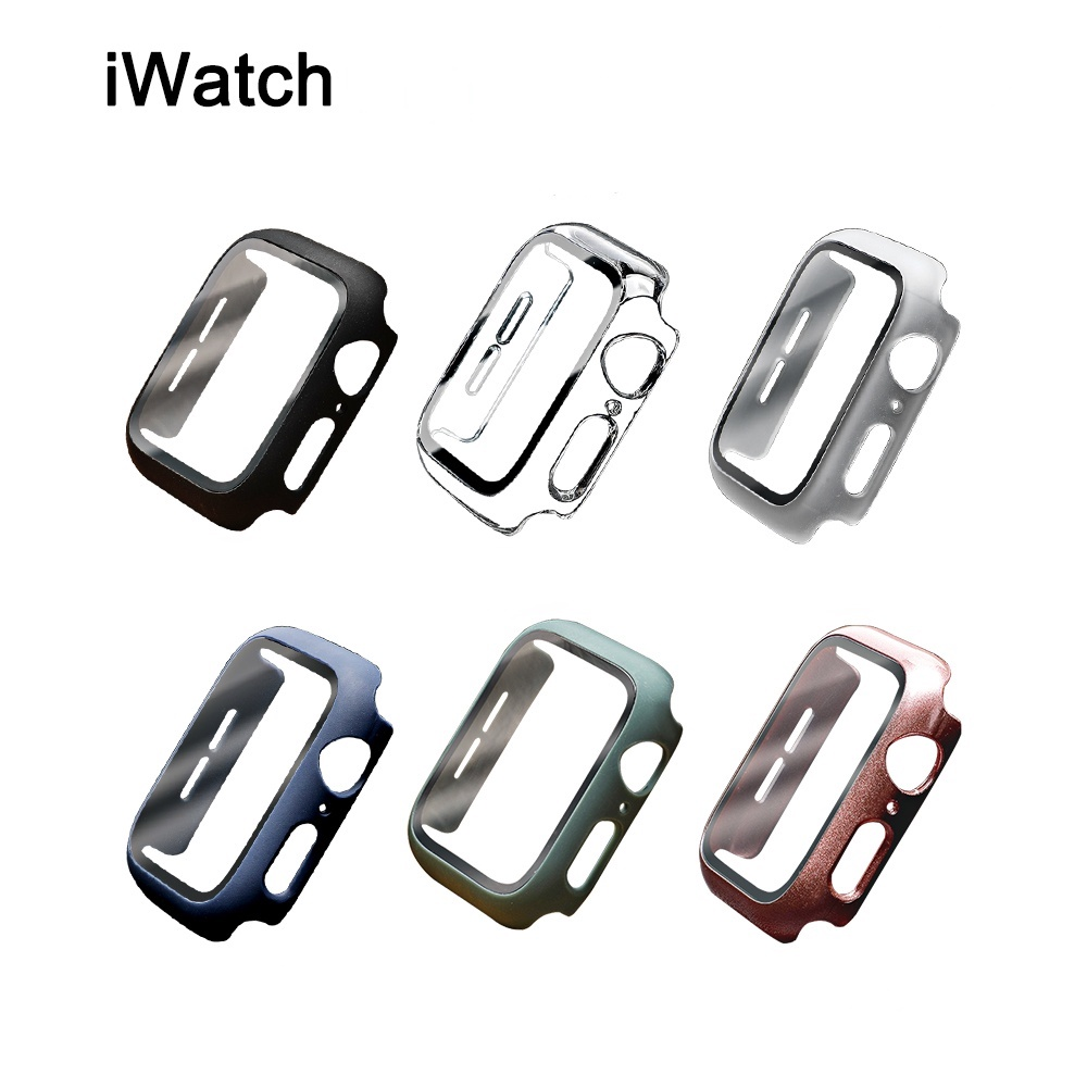 Screen protector For Apple watch case 44mm 40mm 42mm 38mm HD Tempered glass Plating case cover for iwatch SE 6 5 4 3 bumper