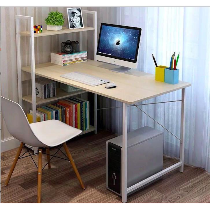 🔥สุดคุ้ม🔥HomePro+ โต๊ะทำงานไม้ พร้อมชั้นวาง โครงเหล็ก 120x55x120 cm โต๊ะคอม ชั้นวางของ โต๊ะทำงาน โต๊ะไม้3