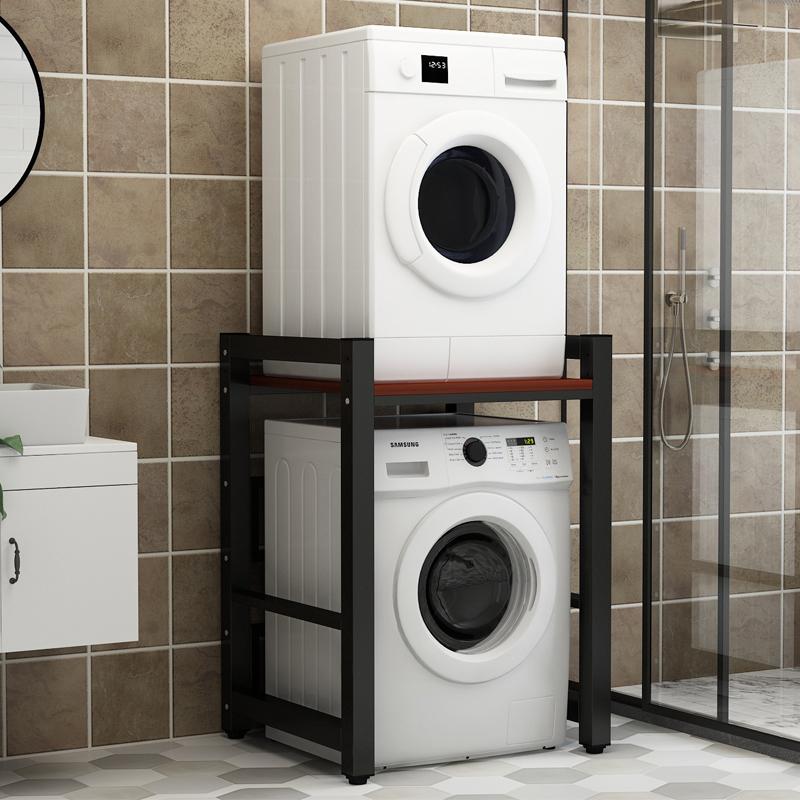 กลองเครื่องซักผ้าชั้นวางชั้นคู่ห้องน้ำระเบียงเครื่องอบผ้าเครื่องล้างจานซ้อนชั้นวางที่สามารถปรับแต่ง