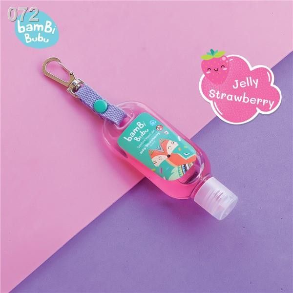 ขายดีที่สุด◊♠∏Bambi Bubu Official Shop แบบห้อยกระเป๋า เจลล้างมือแอลกอฮอล์สำหรับเด็ก กลิ่น Jelly Strawberry ขนาด 30ml