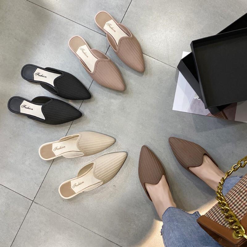 รองเท้าคัชชูเปิดส้น รองเท้าส้นแบนหัวแหลม รองเท้าคัชชู รองเท้าผู้หญิงแฟชั่น หัวแหลม เปิดส้น แต่งขีด เท้าอวบเพิ่ม