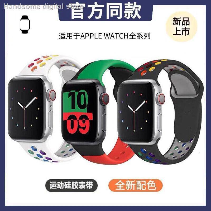【อุปกรณ์เสริมของ applewatch】♝ใช้ได้กับสาย iwatch สาย Applewatch S6 / 5/4/3 SE ซิลิโคนสีตัดกันสายนาฬิกา Apple