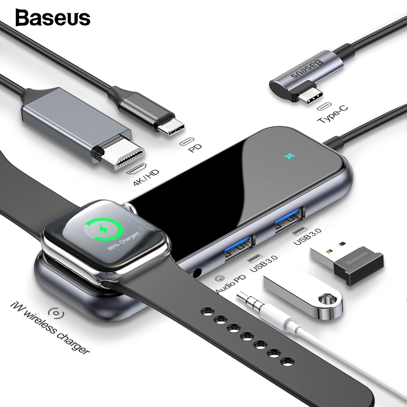 Baseus LED USB C HUB to HDMI RJ45 3*USB 3.0 Type C PD Adapter Ethernet Splitter