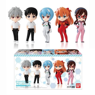 5  Models Original EVA Gashapon Toy Action Figures Anime Asuka Langley Ayanami Rei Mari Collectible Figurine Statue Anim