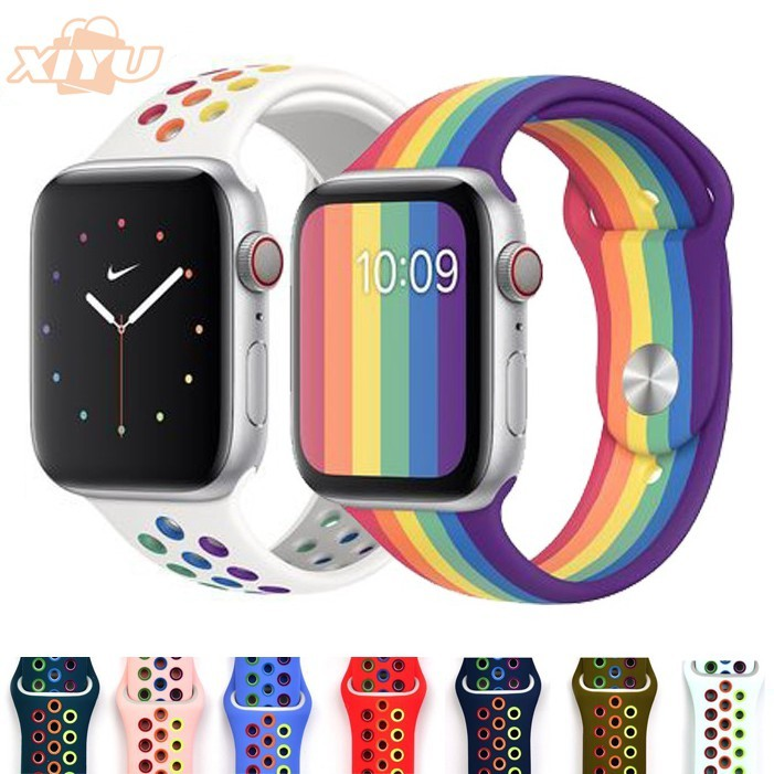 Fashionable rainbow Nike silicone for Apple Watch 5 44mm 42mm strap, breathable strap accessory for iwatch series 4 3 2