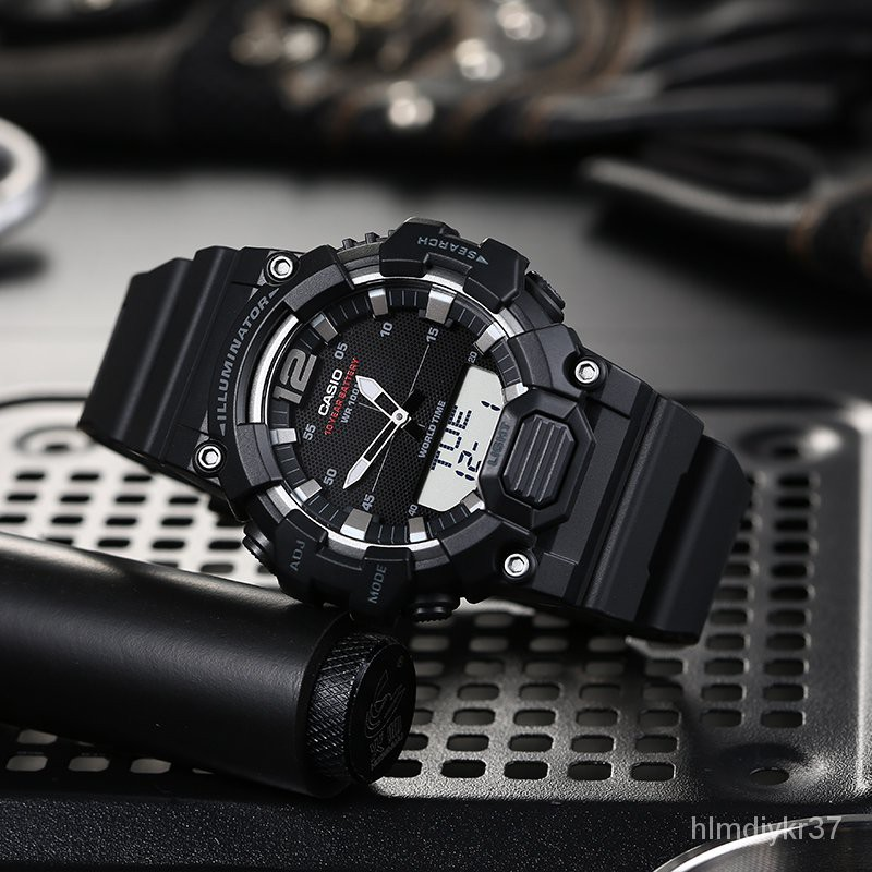 Casioนาฬิกา Casio ชายสิบตัวชี้ไฟฟ้าดิจิตอลจอแสดงผลคู่กีฬานาฬิกาอิเล็กทรอนิกส์HDC-700AEQ110