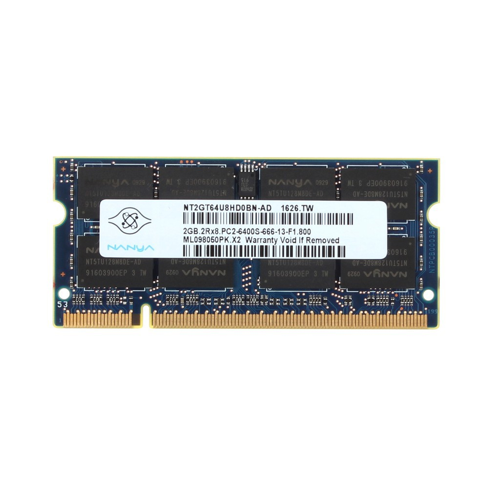 4GB NANYA 2PCS 2GB 2RX8 DDR2 800MHz PC2-6400S 200PIN SO-DIMM Laptop RAM Memory #