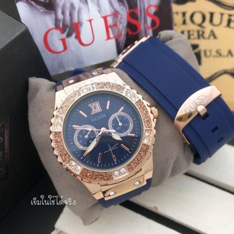 นาฬิกา Guess - Guess Watch นาฬิกาข้อมือผู้หญิง สีโรสโกลด์/ทอง เข็มวงในใช้ได้ by W12Shop มีชำระเงินปลายทาง