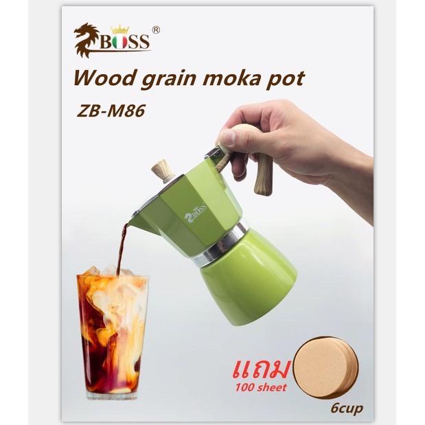 Zboss  หม้อ Moka อิตาลีหม้อกาแฟแปดเหลี่ยมบ้านเครื่องชงกาแฟเอสเพรสโซกลั่นสกัดหม้อกาแฟทำมือZB-M86
