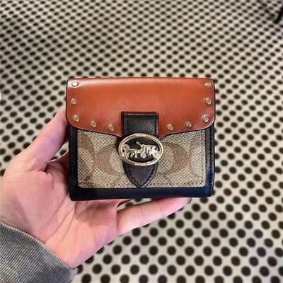 ✄☠กระเป๋าเงินคุณผู้หญิงCoach Ladies กระเป๋าสตางค์ใบสั้นกระเป๋าถือสีเข้ากันกับกระเป๋าใส่เหรียญกระเป๋าใส่บัตร7250