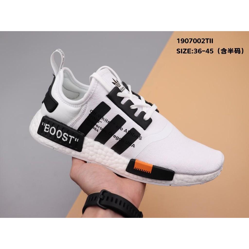 รองเท้าผ้าใบผูกเชือก Off white x adidas Originals NMD R1 รองเท้าสตรี