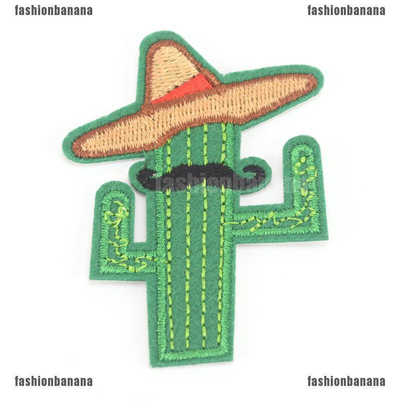 span - new cowboy cactus with hat and beard diy แผ่นผ้าเย็บปักลายสําหรับเย็บปักตกแต่งเสื้อผ้า