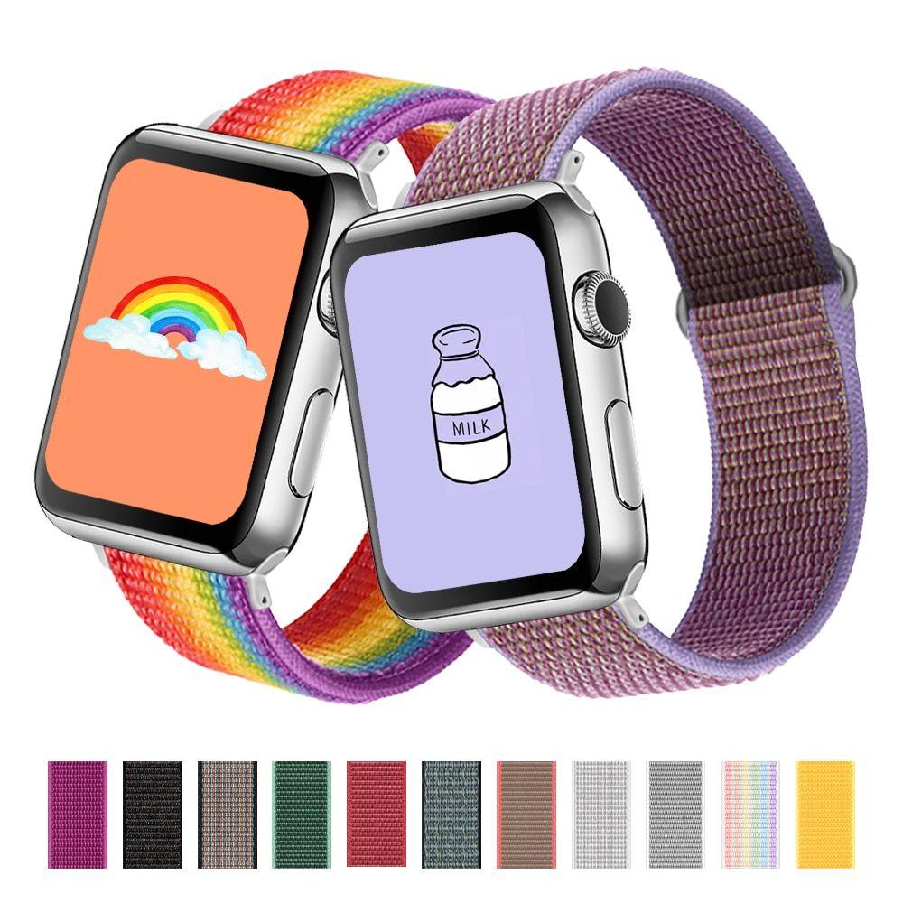Nylon Strap For Apple Watch band 44mm 40mm 42mm 38mm Smartwatch Watchband Belt Sport Loop Bracelet iWatch Series 5 SE 6