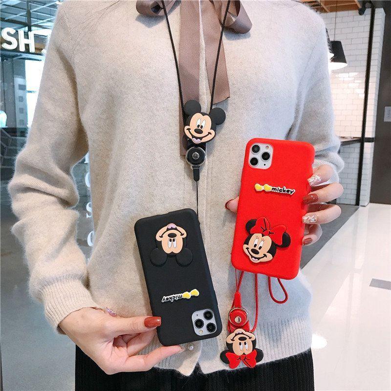Samsung A31 A70 A80 A9 C9 Pro 2016 A6 A8 Plus J8 2018 Note 8 9 20 S8 S9 Plus S20 Ultra Case เคสโทรศัพท์มือถือ อ่อนนุ่ม มิกกี้ มินนี่ + สายคล้องคอ Neck strap
