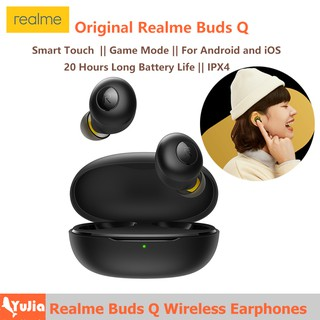 Original Realme Buds Q Wireless Earphones Bluetooth TWS 400mA Battery Charger Box Bluetooth 5.0 For Android And iOS System Smart Touch