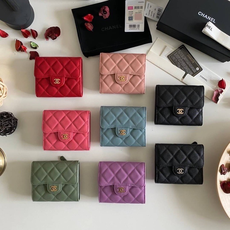 พร้อมส่ง Chanel Classic small wallet cavier skin Original เข้าแล้วค่ะกระเป๋าสตางค์