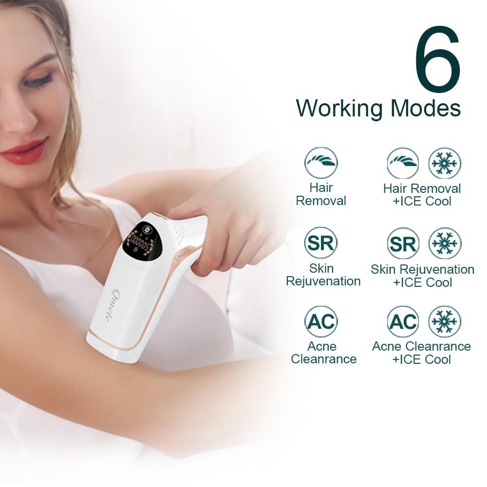 Plucking  Qmele Laser Depilator Bikini ICE Cold IPL Epilator For Women Permanent 50,0000 Pulses Light Hair Removal Machi