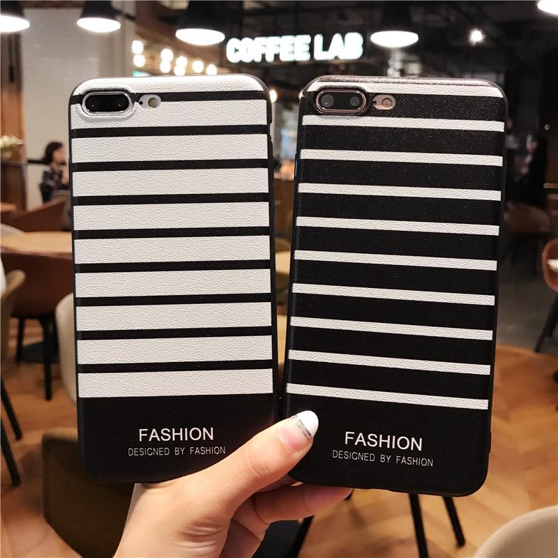 เคส Infinix Hot 9 Play Hot 10 Note7 8 Smart 4 Note 7 Case Stripe Soft Slim Black White TPU Cover