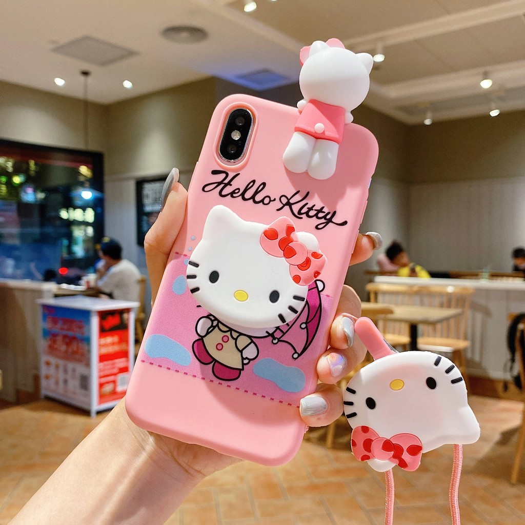 Samsung A8 Plus 2018 A6 Plus 2018 A9 Pro 2018 A9 Star Lite 2018 A9 Star Pro Cartoon Bow and Umbrella Hello Kitty Soft Case + Bracket + Rope