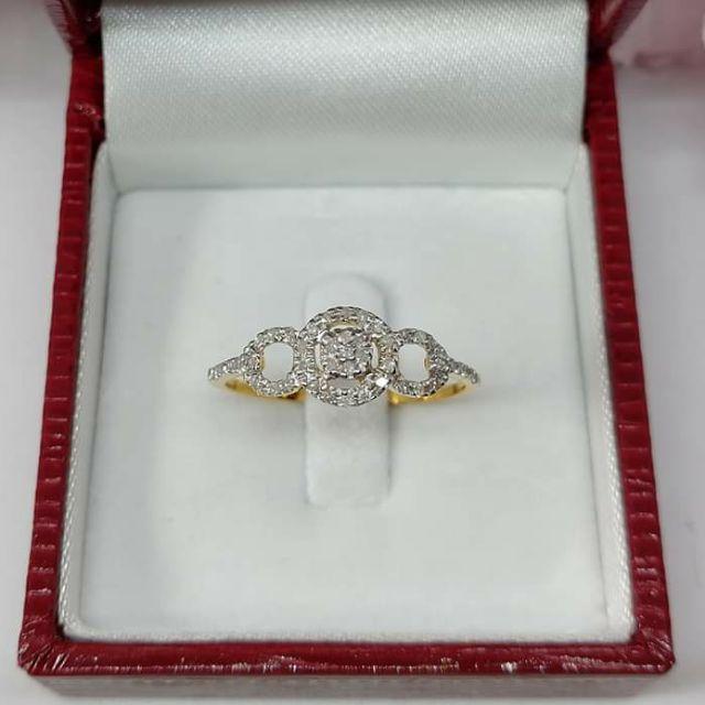 แหวนเพชรทรงกลมน่ารักๆ ทองคำแท้  ราคาโรงงาน
