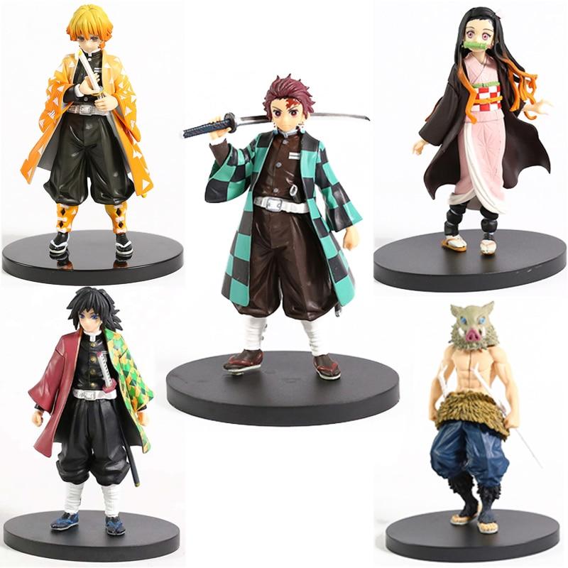 Anime Demon Slayer Figure Kamado Tanjirou Nezuko Action Figures PVC Model Toys Zenitsu Figurine Inosuke Kimetsu No Yaiba